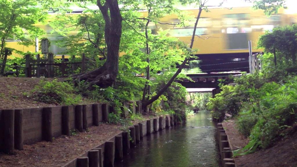 ワンショットジオラマ・玉川上水と西武線・鷹の台駅-2102