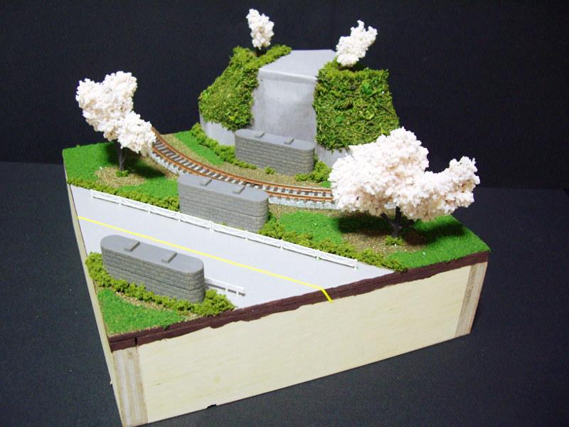 単線ミニモジュールレイアウト・コーナー桜1-1523