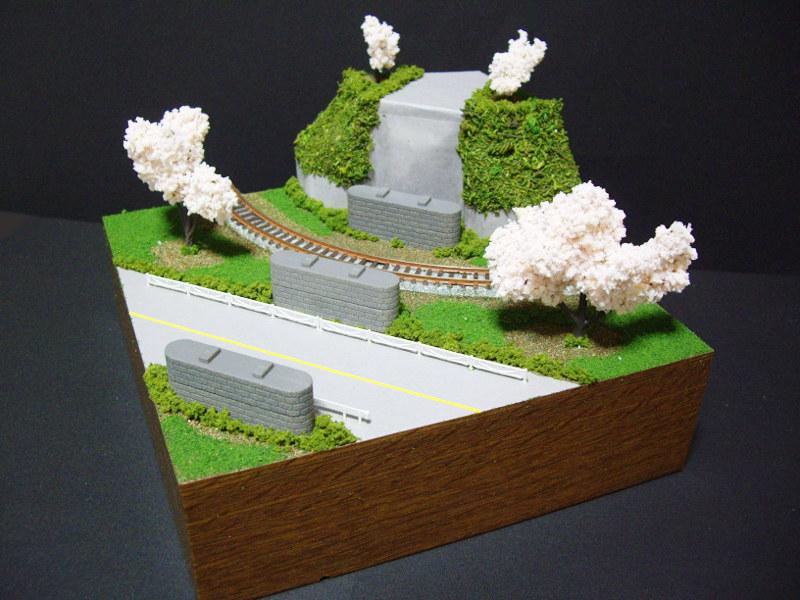 単線ミニモジュールレイアウト・コーナー桜1-1525