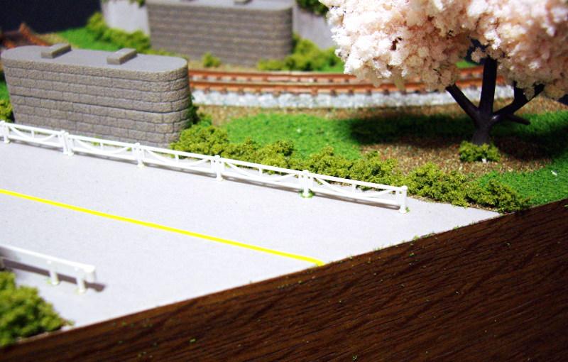 単線ミニモジュールレイアウト・コーナー桜1-1526