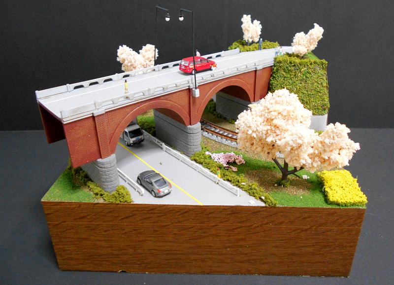 単線ミニモジュールレイアウト・コーナー桜1-1529