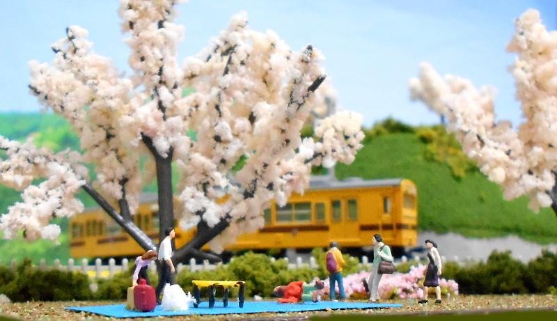 単線ミニモジュールレイアウト・コーナー桜2-1601