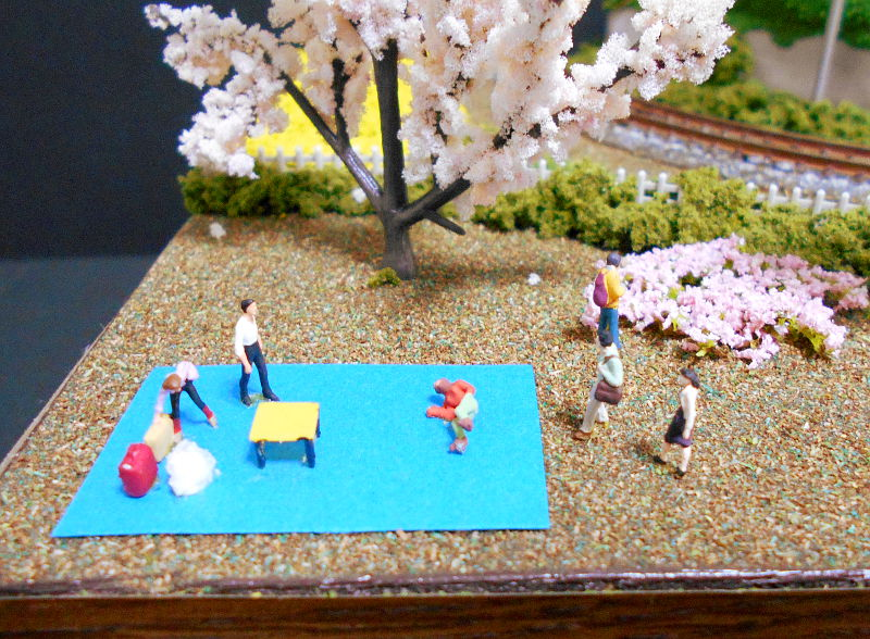 単線ミニモジュールレイアウト・コーナー桜2-1607