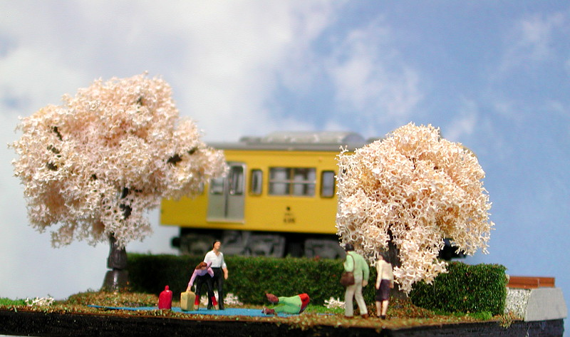 単線ミニモジュールレイアウト・コーナー桜2-1608