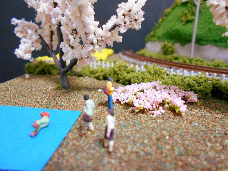 単線ミニモジュールレイアウト・コーナー桜2-1609