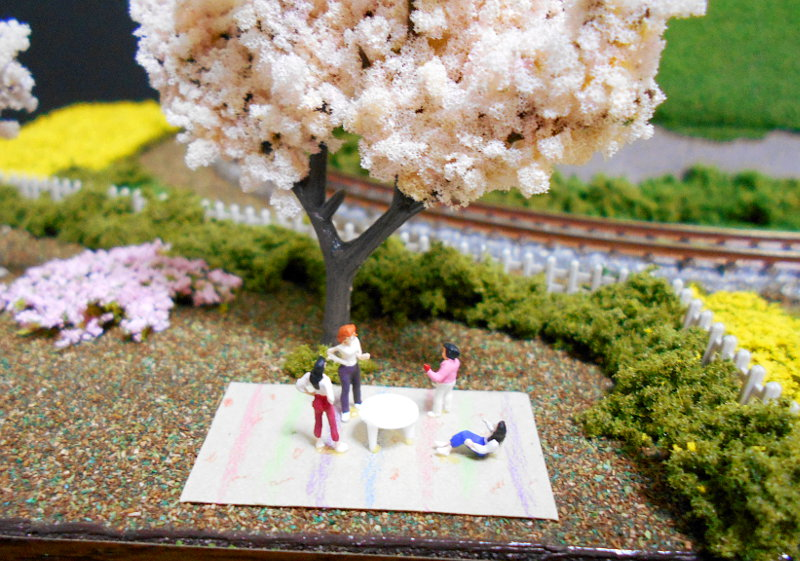 単線ミニモジュールレイアウト・コーナー桜2-1610