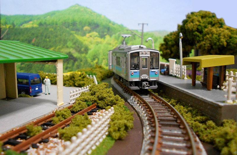 単線ミニモジュールレイアウト・S字大糸線の駅-1401