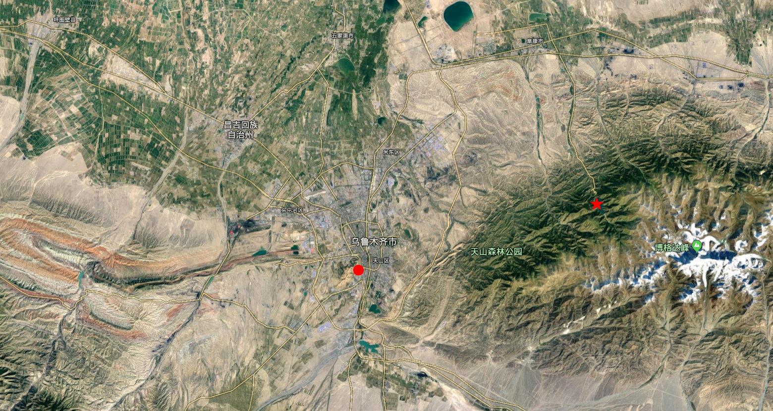 ユーラシア大陸鉄道横断旅行 Go West!1996その22・天池周辺の地図-2201