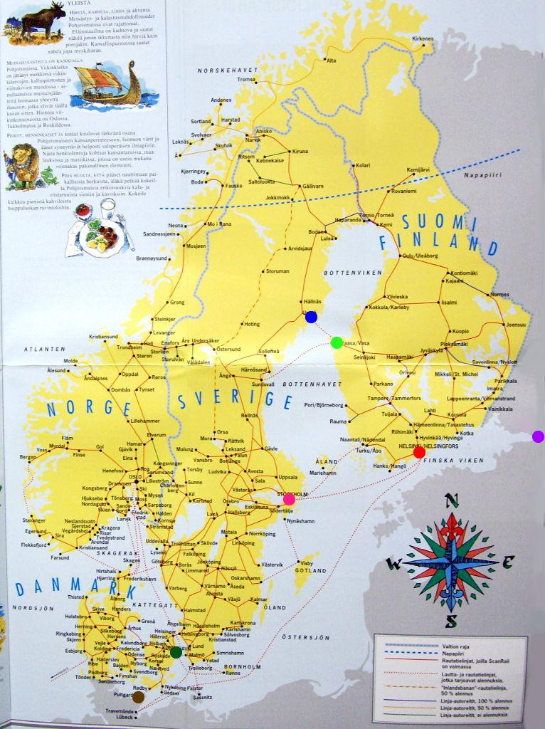 ユーラシア大陸鉄道横断旅行 Go West!1996その38・北欧の地図-3810