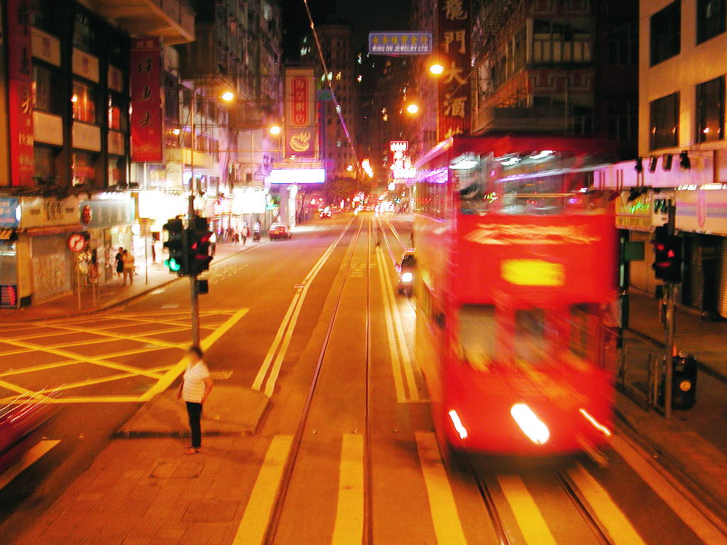 香港・小心地滑友の会 その1・二階建てトラムと夜景2008秋-0108