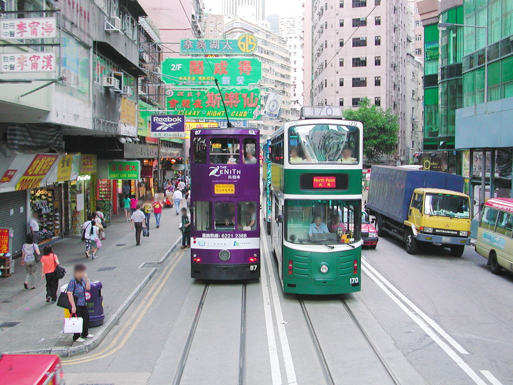 香港・小心地滑友の会 その2・春秧街の二階建てトラム2007夏-0202