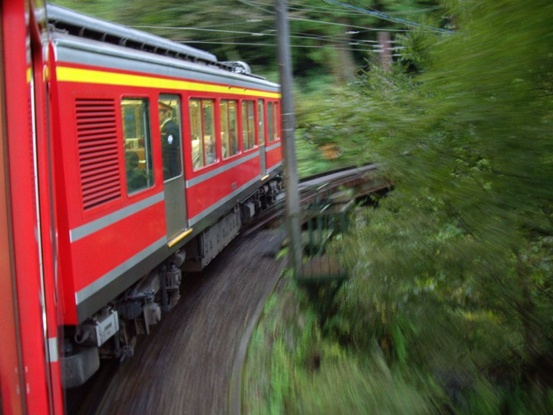 箱根登山鉄道と夕暮れの富士山2012-7003