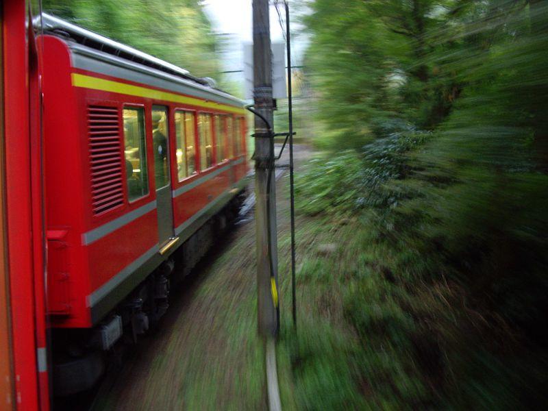 箱根登山鉄道と夕暮れの富士山2012-7005