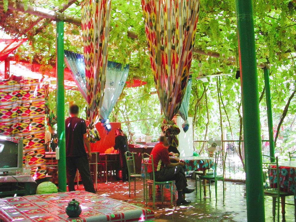 シルクロード一人旅「我的長征2006」その36・トルファン・葡萄溝の食堂でのんびり-3609