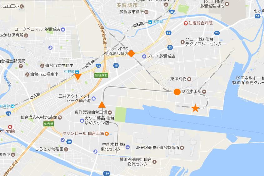 仙台埠頭駅とレール運搬列車2017春-7202